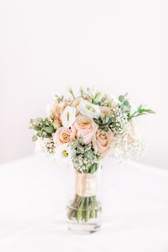 Bridal Bouquet designed by Ceruti's Floral and Decor Team! Photo courtesy of Gem Photography #fortwayneweddingflowers #roses #babysbreath #blushwedding #dustypinkwedding #bridalbouquet #blushweddingflowers #fortwayneweddings