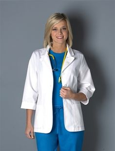 "Peaches Uniforms 3/4 Sleeve Fashion Lab Coat N6567 3/4 SLEEVE FASHION LAB COAT (N6567)   2 - 20  65% Poly/35% Cotton Twill     • 28"" short lab coat with contoured fit  • Notched collar  • Two front patch pockets  • Rounded hem   • Back belt detail.  Peaches Uniforms 3/4 Sleeve Fashion Lab Coat 6567  5 out of 5 based on 1 user ratings $23.40 #scrubs #scrubcouture #nurses"