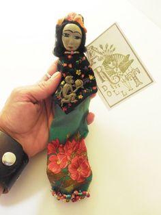 Frida Kahlo Contemporary Cloth and Clay Folk Art Doll by Jeanne Fry | ConsciousArtStudios - Dolls & Miniatures on ArtFir