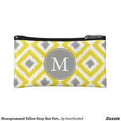 Monogrammed Yellow Gray Ikat Pattern Cosmetic Bag