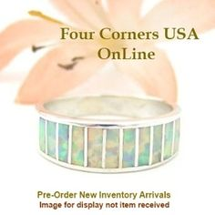 Pre Order Size 7 White Fire Opal Inlay Ring Native American Ella Cowboy WB-1717 Four Corners USA OnLine Navajo Silver Jewelry