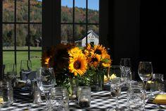 Pretty bouquet, love the glassware & tablecloth, too