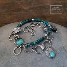 Artisan bracelet raw sterling silver bracelet turquoise