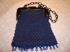 1920s Navy blue beaded flapper bag with bakelite chain.