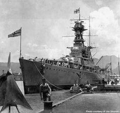 Another picture (see nearby) of 15 in battlecruiser HMS Hood on her 1924 world cruise, taken at Pearl Harbor in Hawaii. Hms Hood, World Cruise, Capital Ship, Merchant Marine, Big Guns, United States Navy, Navy Ships, Pearl Harbor, Aircraft Carrier