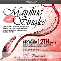 Join me for a captivating evening at Paramour in Wayne, PA, tasting great food and wine while meeting the area's most eligible singles!!