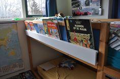 IKEA Hackers: High sleeper bookshelf (KURA+RIBBA) Add a ledge to the bunkbed so you can slip books in there. Kura Ikea, Kura Bed Hack, Bed Ikea, Sale Signage, High Sleeper, Kids Bunk Beds, Ikea Hackers, Girls Bedroom, Kid Bedrooms