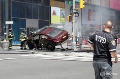 A vehicle that struck pedestrians and later crashed is seen on the sidewalk in New York City, U.S., May 18, 2017. REUTERS/Mike Segar @msegar #reuters #reutersphotos #nyc #newyork