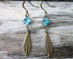 Sky Blue Swarovski Crystal Earrings Art by DiscoLemonadeDesigns, $19.99