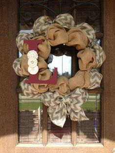 Chevron Burlap Initial Wreath