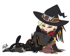 "goldhardt: ""A witch and her cat (genji's cat look inspired by @sarcasticasides) """