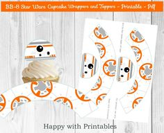 BB-8 Star Wars Cupcake wrappers and Toppers - BB8 cupcake toppers - BB- cake wrappers - Star Wars The Force Awakens wrappers and toppers by HappywithPrintables on Etsy