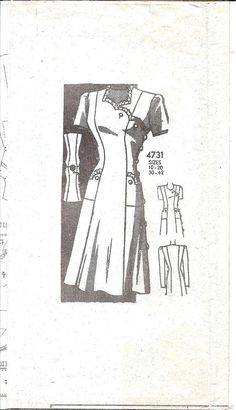 1940s Womens Dress  Mail Order 4731 Vintage Pattern by ErikawithaK,