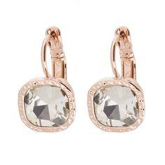 Ohrringe ROSEGOLD - hängend mit Schmuckstein in WEISS ❤ Quadratische Ohrhänger ✓ mit hochwertigem Brisurverschluss ✓ verschiedene Farben. Jetzt ansehen! rose gold earrings white