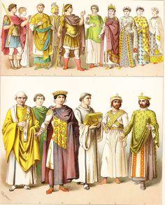 Byzantine clothing - chromolitograph   ancient look men 3