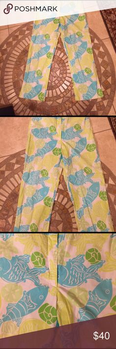 f87e2f7148 Lilly Pulitzer summertime green and blue pants 6 This is a fun pair of  Lilly Pulitzer