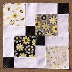 This month for our Bees Knees group, Tamara asked us to make an adorable Disappearing 9 Patch block using adorable Bee fabric!!! How cute is that :)  Disappearing 9 Patches are so much fun and super