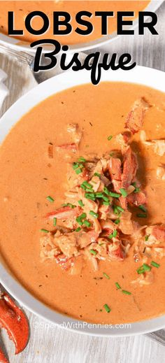 Lobster Bisque is a delicious creamy soup with a simple lobster infused broth mixed with aromatics, cream and chunks of juicy lobster meat. #spendwithpennies #lobsterrecipe #lobsterbisque #easysouprecipe #lobstersoup #bisque #creamysoup