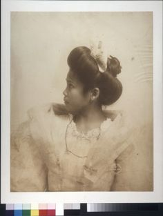 Visayan Girl. Taken by the Gerhard Sisters during the 1904 World's Fair. Emme and Mamie Gerhard photographed people living and performing on the Pike and in the Anthropology Department exhibits at the World's Fair. Taken in their St. Louis studio using natural light to accentuate the facial characteristics, these captivating images brought a level of humanness to subjects that were often, in the context of the Fair displays, seen only as exotic or even dangerous. Missouri History Museum