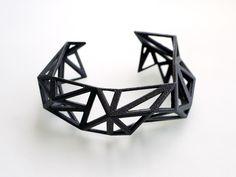 Triangulated Cuff bracelet in Black. geometric jewelry 3d printed.