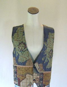 Vintage Map Atlas Tapestry Vest Shirt Top by RetroFascination, $27.00