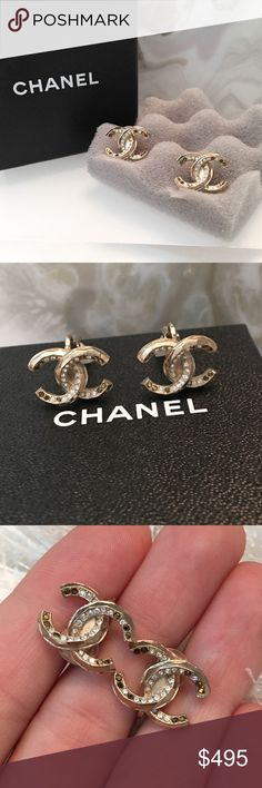 """Auth CHANEL Gold CC Crystal Clip On Earrings BOX Authentic Chanel Gold CC Logo Clip On Earrings. These are 100% authentic, comes with original box. They are a Brushed gold with Unique cut to them. Beautiful white and Bronze Swarovski crystal accents throughout earrings. Hallmark on back of each earring. Clip ons, which make them hang perfectly on your ear and not dangle as some do. These measure approx 0.7"""" x 0.6"""". Very comfortable. Stunning! Minor wear. CHANEL Jewelry Earrings"""