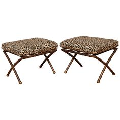 Pair of X-Form Gilt Metal Faux Bamboo Ottomans with Leopard Print Fabric | 1stdibs.com