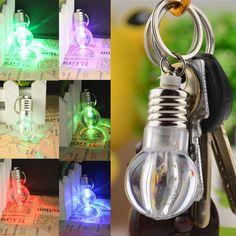 Hot 1 Pc Women Men New Popular Charming Clear LED Light Lamp Bulb Change Colors Key Chain Christmas Gift