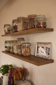 smoked wood shelf in the kitchen.