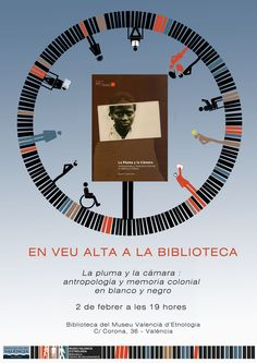 Cartell de la presentació del llibre «La pluma y la cámara : antropología y memoria colonial en blanco y negro» de Hasan G. López Disseny d'Andrés Marín Colonial, Movies, Movie Posters, Feathers, Black And White, Films, Film Poster, Cinema, Movie