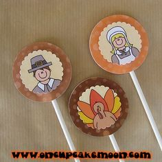 thanksgiving boy and girl pilgrims and turkey cupcake cake toppers. custom personalized - set of 12 handmade by OnCupcakeMoon