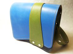 Ziggy is a leather handbag by Joebobjim - This one is a lovely bright blue with a bruised blue hide front and sage green for the sides with an