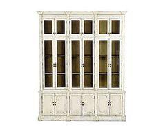 Libreria in quercia con vetrine Rossella bianca - 220x270x55 cm
