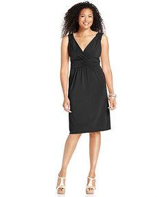 NY Collection Petite Dress, Sleeveless Ruched Empire-Waist - Womens Petite Dresses - Macy's