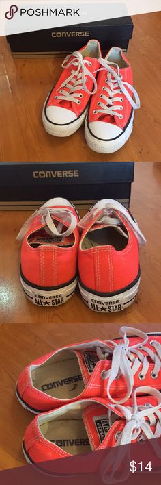 Neon Orange Converse Low-Top. Neon orange converse low-top. Gently used; trying to declutter my closet. The converse box is included. Converse Shoes Sneakers