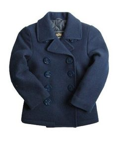 Deep Blue USN Styled Pea Coat for Little Boys