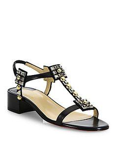 ca5be818e Christian Louboutin Kaleidra 25 Studded Leather Block-Heel Sandals Suede  Sandals