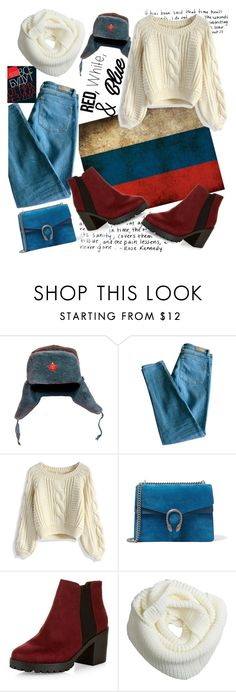 """""""White&Blue&Red"""" by ivanova-sonya on Polyvore featuring мода, French Connection, Sandro, Chicwish, Gucci, New Look, redwhiteandblue и july4th"""