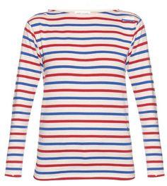 SAINT LAURENT Distressed breton-stripe top