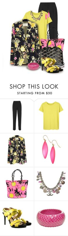 """Etro Flower-Printed Blazer in Black, with yellow & pink"" by franceseattle ❤ liked on Polyvore featuring Maiyet, Etro, Alexis Bittar, Blumarine, Louis Vuitton, Chanel and Reed Krakoff"