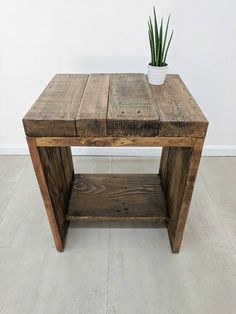 LAUAKE Bedside Table in Light Oak finish made of Rustic