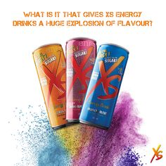What is it that gives XS Energy Drinks a huge explosion of flavour? Each Energy Drink contains Vitamins B3, B6 and B12, which are all crucial for the breakdown of carbohydrates in the body to provide energy. Www,amway com/william kamstraibo#6963376 to registar