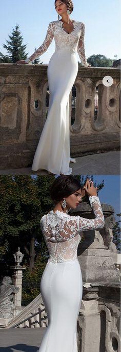 v neck lace long sleeves sheath/column chiffon wedding dress