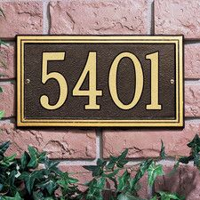 Whitehall Products Double Line Wall Address Plaque Finish: Green and Gold, Color: Antique Copper House Number Plaque, House Numbers, Line Border, Whitehall Products, House Front Door, Address Plaque, Aluminum Metal, Street Signs, Joss And Main