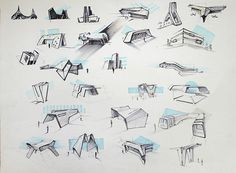 Sketches architectural by Mihail Ivantsov, via Behance Origami Architecture, Amazing Architecture, Architecture Design, Pavilion Architecture, Classical Architecture, Conceptual Sketches, Conceptual Design, Layout Design, Sketch Design