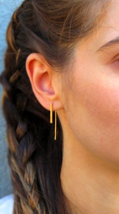 Gold Plated Sterling Silver Bar Earrings-Minimalist Jewelry-Threader Earrings by CorneliousWhite on Etsy https://www.etsy.com/uk/listing/243820403/gold-plated-sterling-silver-bar-earrings