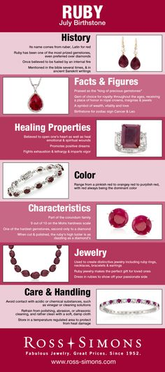 Happy Birthday July Babies! Learn more Ruby birthstone jewelry in this infographic. #RossSimons