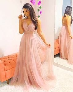 Pink V Neck Party Dress Tulle Beaded Prom Dress Long Prom Dress, Pink Evening Dress Prom Dresses Long Pink, Winter Formal Dresses, Tulle Prom Dress, Homecoming Dresses, Sexy Dresses, Fashion Dresses, Bridesmaid Dresses, Stylish Dresses, Peach Dress Long