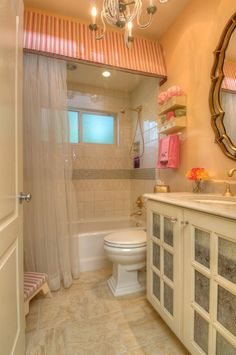 girls bathroom- chandelier & top of bath / paint not material Cheap Bathroom Remodel, Shower Remodel, Kitchen Remodel, Bathroom Ideas, Amazing Bathrooms, My Dream Home, Sweet Home, New Homes, Interior Design