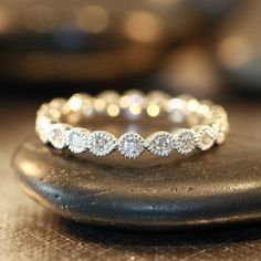 Vintage Inspired Bezel Set Diamond Wedding Ring 14k White Gold Diamond Eternity Band. stunning